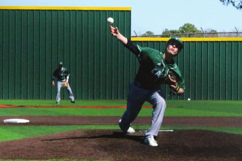 Photo by David Kapitan Caleb Phillips helped Canton extend its season record to 9-1 overall by allowing just two hits and two earned runs in a 10-2 Eagle victory over Elkhart.