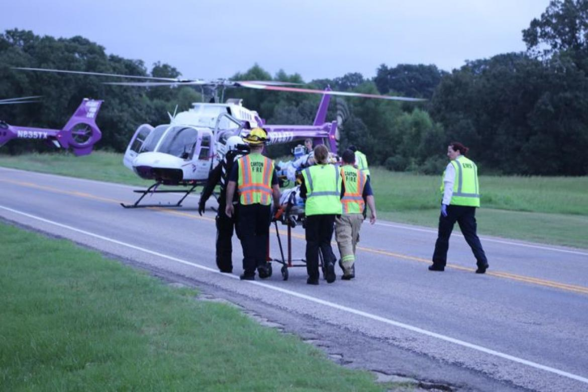 Two airlifted from SH 243 crash
